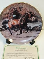 """""""Beach Comber"""" Horse Danbury Mint Limited Edition Collectors Plate w23Kt Gold"""