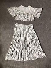 Vintage 60's Hand Crochet Crop Top and Skirt Set