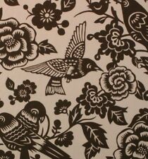 """DURALEE AVIARY EARTH BROWN LARGE BIRD FLORAL DESIGN MULTIUSE FABRIC BY YARD 54""""W"""