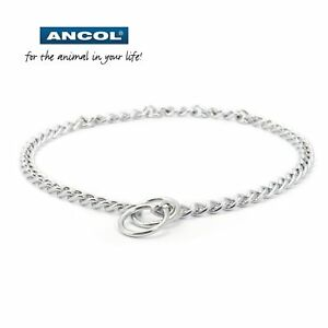 Ancol Dog Puppy Choke Check Chain Metal Silver Stop Pulling Training Dog Collar