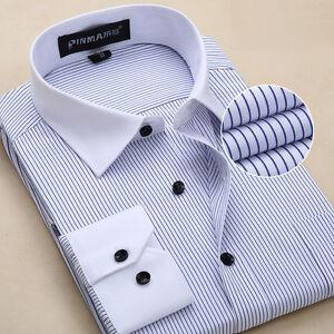 Mens Dress Shirts Luxury Long Sleeves Stylish Business Striped Camisas Shirts