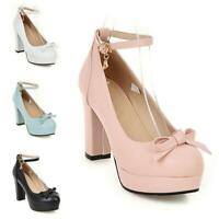 Womens Bow Pu Leather Round Toe Pumps Block Heel Ankle Strap Mary Janes Shoes D