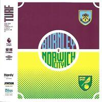 Burnley v Norwich City 21st September 2019 Match Programme 2019/20