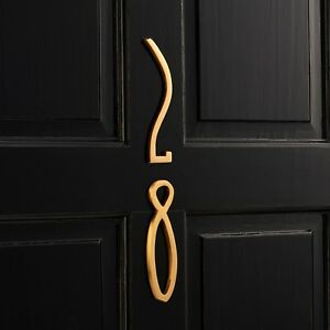 Modern Art Deco Matte Brass Gold & Chrome House Door Number Sign