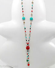 "BEAUTY 36"" Japanese Silk Multi Color Bead Necklace Statement Piece Retail $70"
