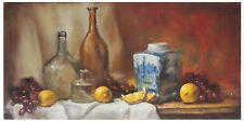 "Original Oil Painting Still Life Realism Blue White Pot w Fruits 8 x16"" by Z. Li"