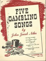 Gambler's Song Of The Big Sandy River Piano Med Voice Sheet Music 1946 J J Niles
