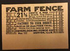 Vintage Interlocking Fence Co. Newspaper / Magazine Ad - Morton Buildings