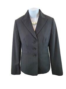 Ann Taylor Sz 2 Black Gray Stripe Three Button Career Blazer