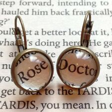 KITSCH UNIQUE DOCTOR WHO ROSE BOOK QUOTE EARRINGS