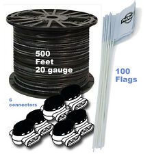 DOG FENCE 500 FT 20 Gauge BOUNDARY WIRE 100 FLAGS 6 CONNECTORS KIT
