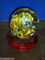 Vintage Millefiori Studio Art Glass Paper Weight Paperweight Wood Base 02211220