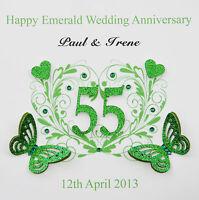 Personalised Handmade Emerald Wedding Anniversary Card (55 years)