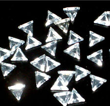 50 pieces  6mm TRIANGLE GLASS CRYSTAL CLEAR RHINESTONES IRON ON HOTFIX