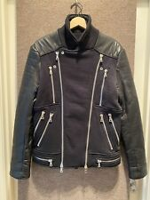 BALMAIN LEATHER/COTTON biker Jacket black Men Slim fit M 48 NWT $2100