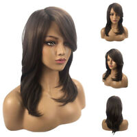 Fashion Women Brown Long Curly Wavy Wig Synthetic Hair Bangs Cosplay Party Wigs