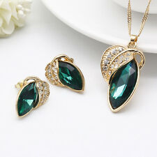 Fashion Women Rhinestone Crystal Pendant Necklace Chain Earrings Jewelry Set