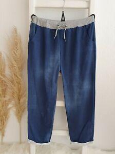 Damen Jogging Sweat Hose Jogpants Freizeit Jeans Optik Batik Blau 46 48 50