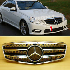 Glossy Black+Chrome A Front Grille 2 Fins For Mercedes Benz W212 E350 2010-2013