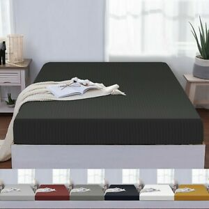 25 CM Stripe Double Fitted Sheet Extra Deep Mattress Protector Bed Bottom Sheet
