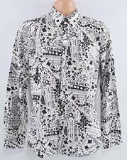 PAUL SMITH Men's Casual Printed Cotton Shirt, White/Grey/Black, size S
