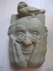 Carruth Studio Birdwatcher Stone Plaque Garden Art Handmade in Ohio