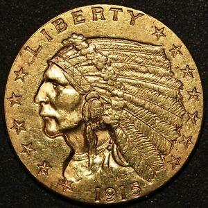 1915 U.S. Indian Head $2.50 Quarter Eagle Gold Coin