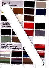1981-82 AUDI Colour Chart & Trim Combinations 200 100 AVANT QUATTRO COUPE GT 80