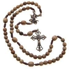 St Michael Wood Rosary Brown Beads Corded Catholic 7mm Hail Mary Women's Size