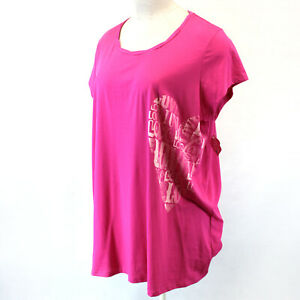 Goodnight Kiss Plus Pink Love Print Short Sleeve Sleep Shirt 1X