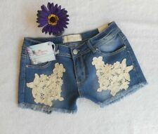 New ALMOST FAMOUS Womens Blue Jean Shorts Size 9 Crochet