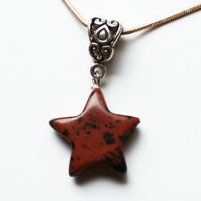 Semi-Precious Stone Star Shaped Pendant on Silver Chain - Brown Jasper