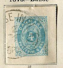 DENMARK;  1875 early Postal Stationary Piece used 4ore. item