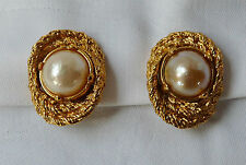 BOUCLES D'OREILLES YVES SAINT LAURENT CLIPS METAL DORE