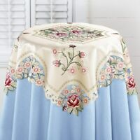 Embroidered Rose & Lacy Openwork Square Valentines Polyester Tablecloth