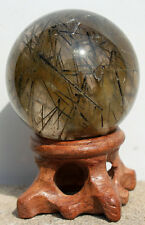 Very Rare Black Tourmaline Quartz Crystal Sphere Ball Healing Specimen+Stand