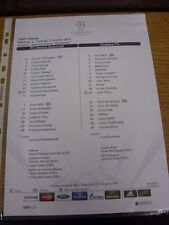 01/10/2013 Colour Teamsheet: Steaua Bucuresti v Chelsea [Champions league] . Tha