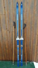"""VINTAGE Wooden 75"""" Skis Has  Blue Finish Signed MIRAGE + Bamboo Poles"""