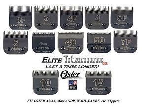 OSTER TITANIUM ELITE Cryogen-X Blade*Fit A5 A6,Andis AGC,WAHL KM*LASTS 3X LONGER