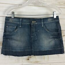 Topshop Denim Jean Mini Skirt Size 10 Distressed Pockets Destroyed Hem Blue
