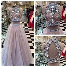 Two Piece Pink Prom Dress Beads Long Tulle Pageant Evening Party Gown Custom