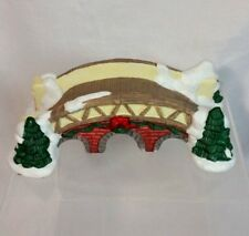 Christmas Village arch garden wooden bridge path ceramic