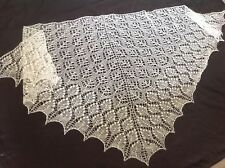 KID MOHAIR BLEND HANDKNITTED COBWEB LACE SHAWL/SKARF PURE WHITE