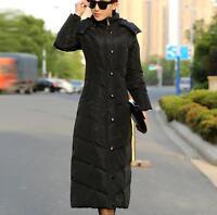 Women Duck Down Jacket  Full Length Winter Warm Parka Puffer Hooded Coat Outwear