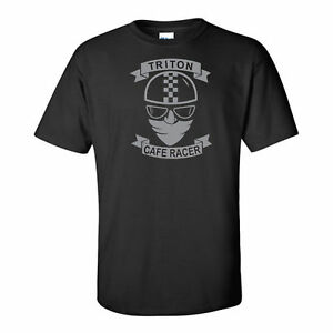 MOTORBIKE-CAFE RACER-TRITON-BIKER-MOTORCYCLE-KOOL-RETRO-GREY LOGO-BLACK-T-SHIRT