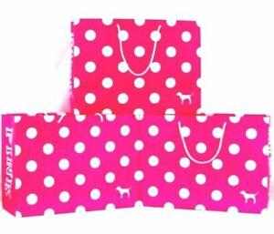 Victorias Secret PINK Logo Dot Dog SM Med LG Paper Shopping Gift Bag 5 10 20