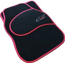 Full Black Carpet Car Floor Mats With Red Boarder For Vauxhall Astra, Corsa, Vec