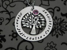 Personalised Hand Stamped Family Names Tree Of Life Pendant/Necklace