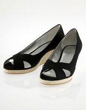 FLIP*FLOP black wedges open toe zeppe sandali donna canvas FLIPPA nere 38 BNIB