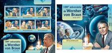 US Space Wernher von Braun Raumfahrt Appolo Kennedy JFK Mozambique MNH stamp set